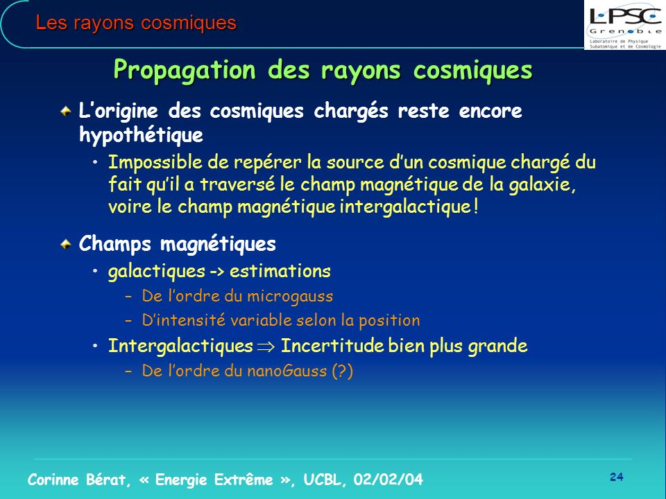 Propagation des rayons cosmiques