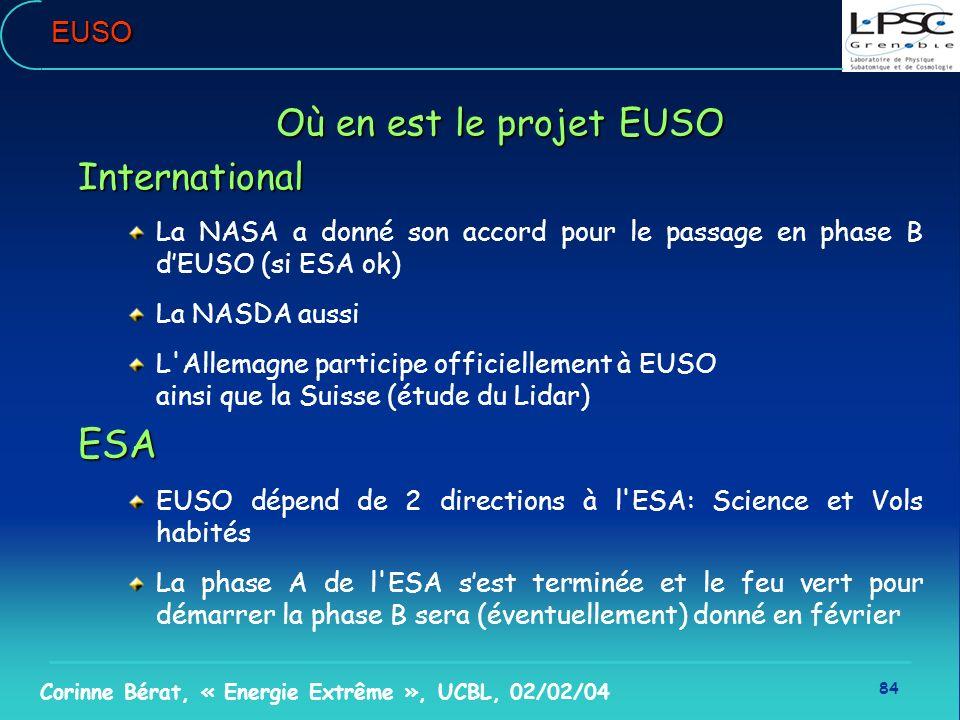 ESA Où en est le projet EUSO International EUSO
