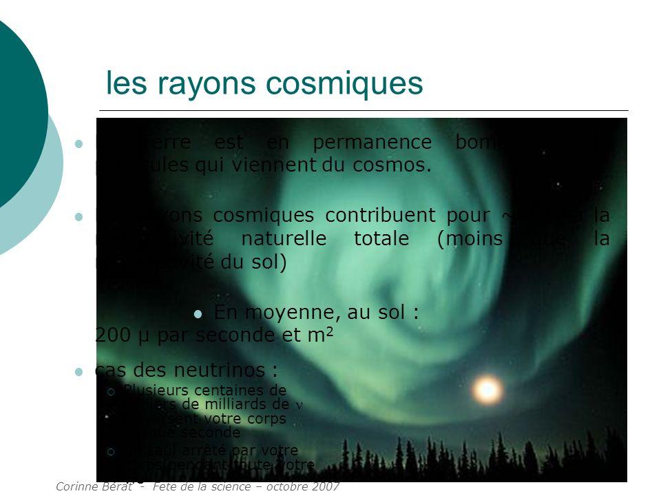 les rayons cosmiques La Terre est en permanence bombardée de particules qui viennent du cosmos.