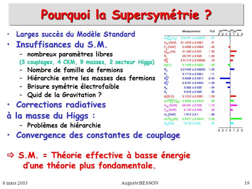Pourquoi la Supersymétrie