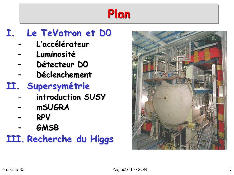 Plan Le TeVatron et D0 Supersymétrie Recherche du Higgs L'accélérateur