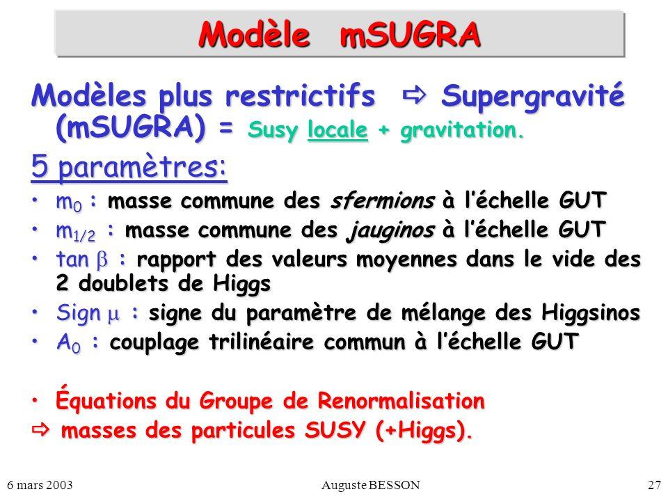 Modèle mSUGRA Modèles plus restrictifs  Supergravité (mSUGRA) = Susy locale + gravitation. 5 paramètres:
