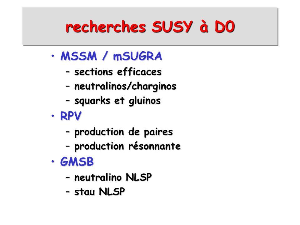 recherches SUSY à D0 MSSM / mSUGRA RPV GMSB sections efficaces