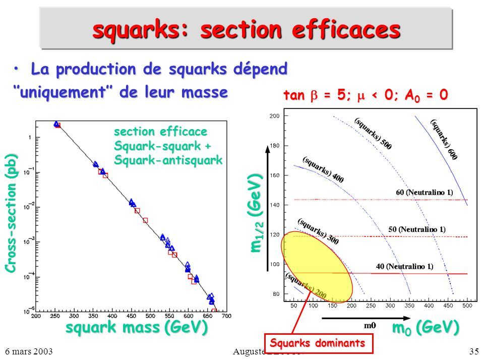 squarks: section efficaces