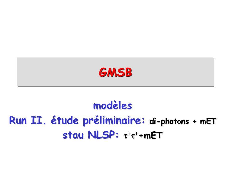 Run II. étude préliminaire: di-photons + mET