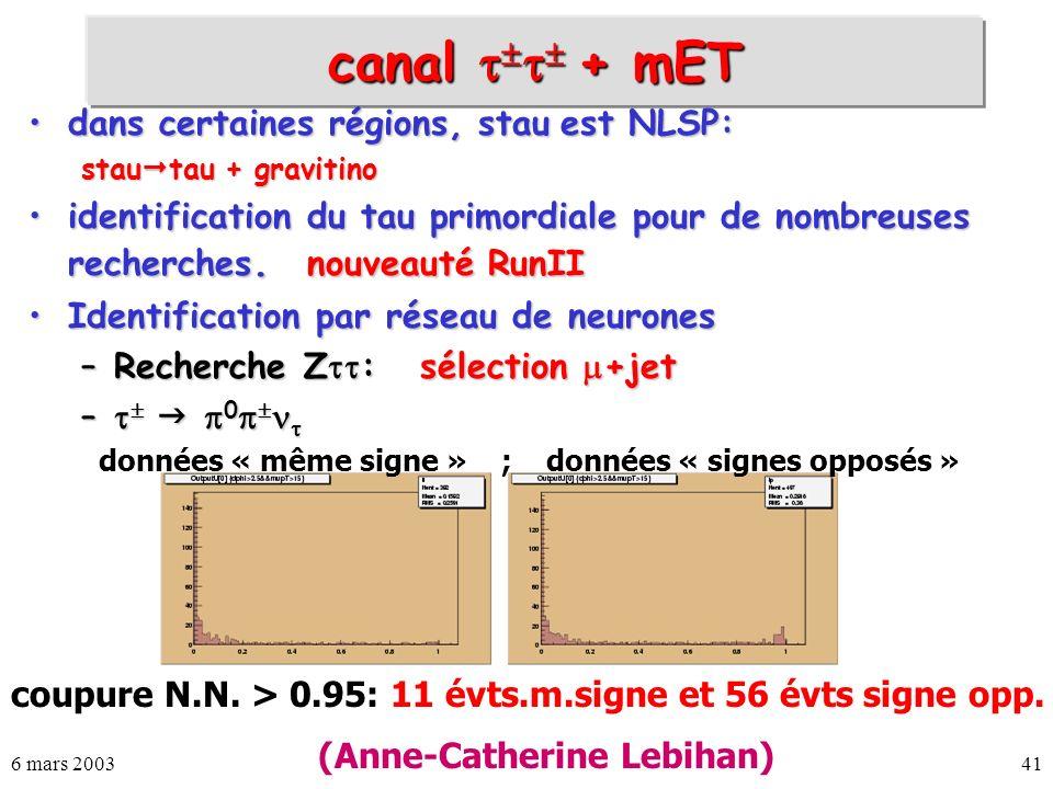 canal  + mET dans certaines régions, stau est NLSP: