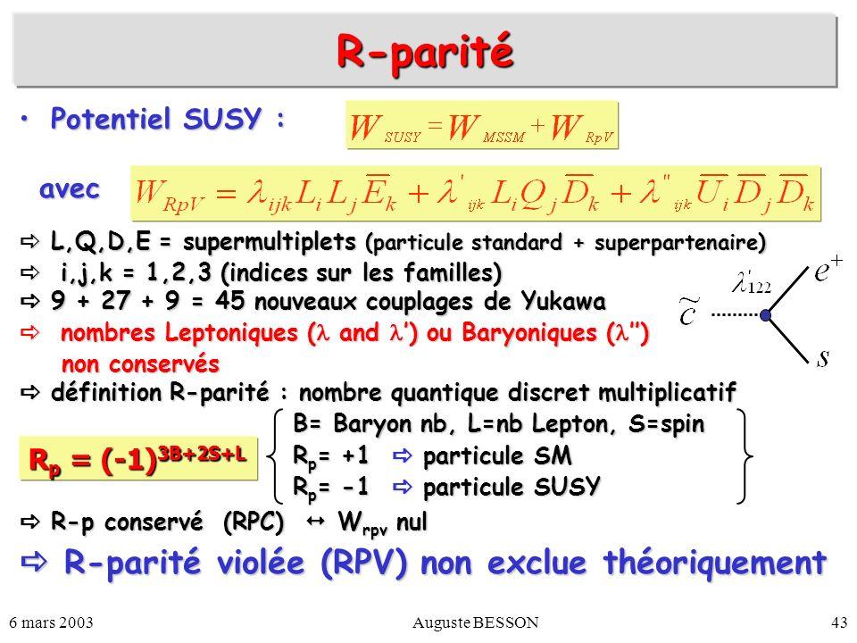 R-parité  R-parité violée (RPV) non exclue théoriquement