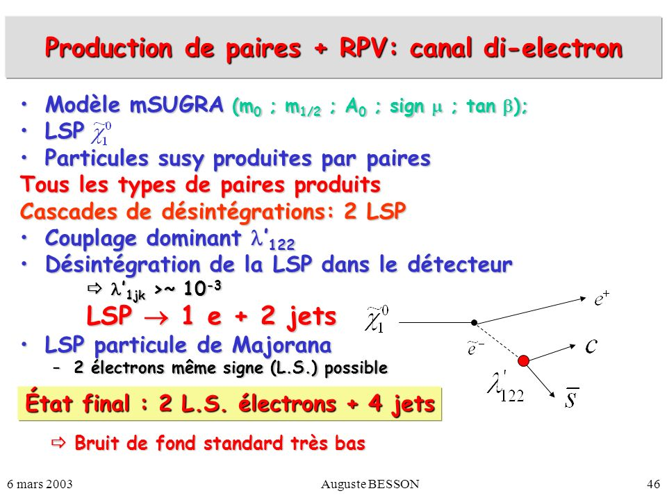 Production de paires + RPV: canal di-electron