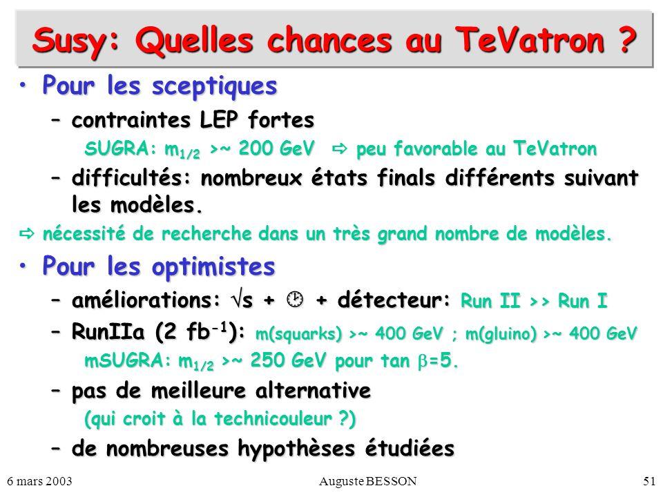 Susy: Quelles chances au TeVatron