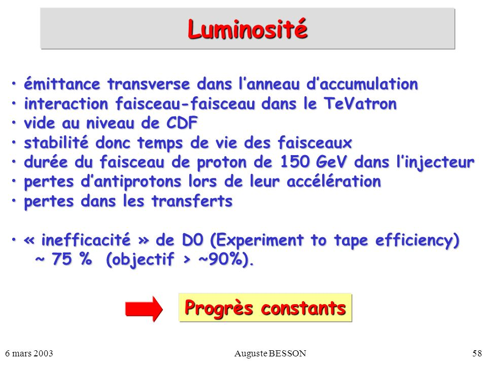 Luminosité Progrès constants