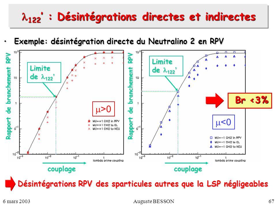 122' : Désintégrations directes et indirectes