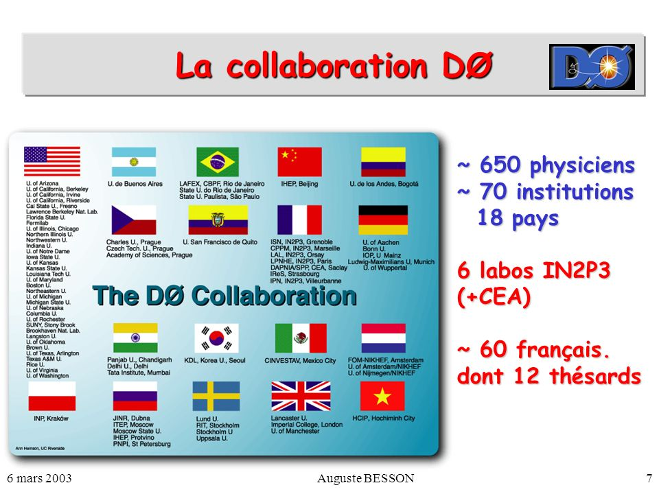 La collaboration DØ ~ 650 physiciens ~ 70 institutions 18 pays