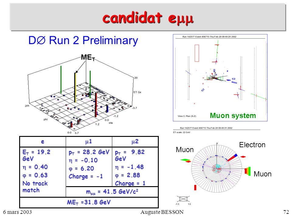 candidat emm D Run 2 Preliminary MET Muon system Electron Muon Muon