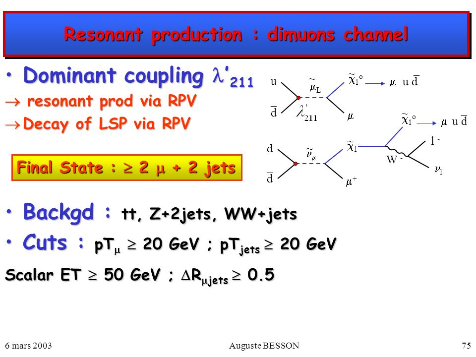 Resonant production : dimuons channel