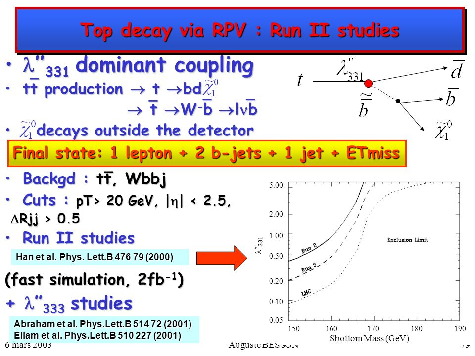 Top decay via RPV : Run II studies