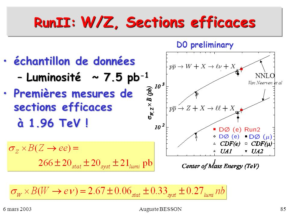 RunII: W/Z, Sections efficaces