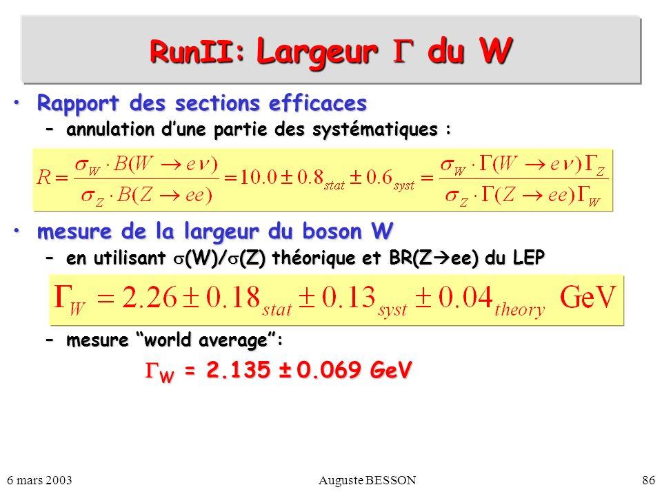 RunII: Largeur  du W Rapport des sections efficaces