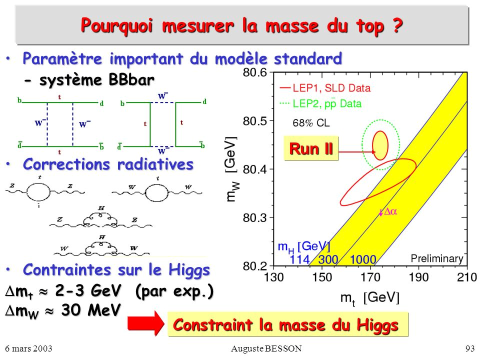 Pourquoi mesurer la masse du top