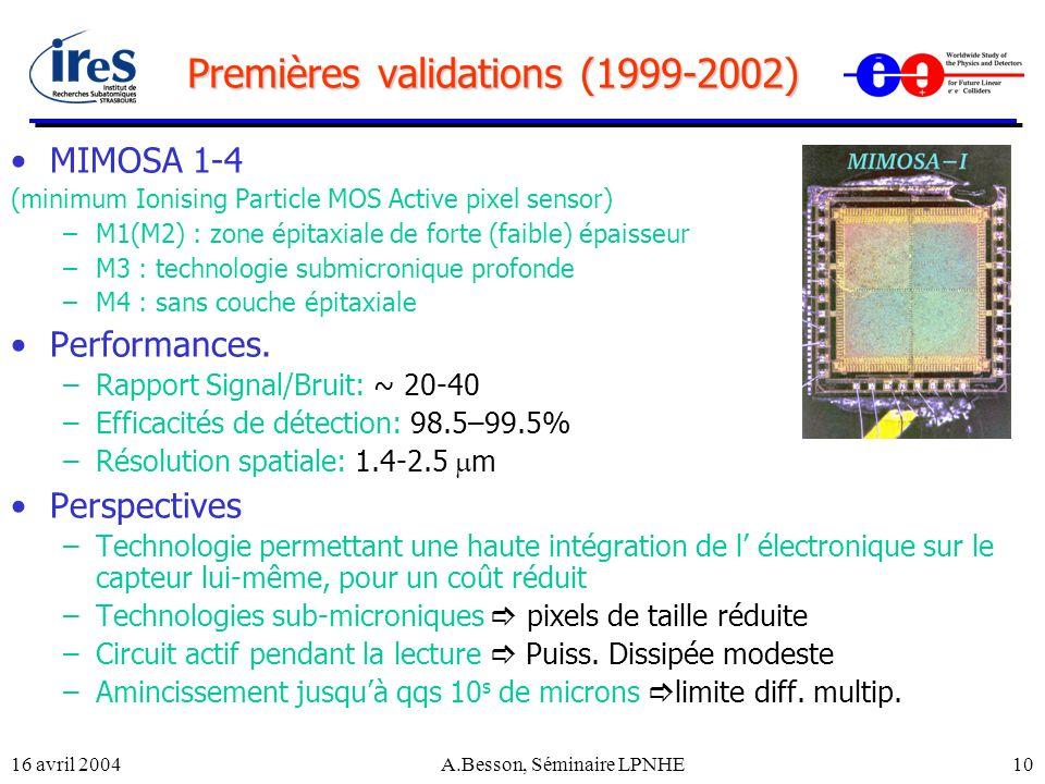 Premières validations (1999-2002)