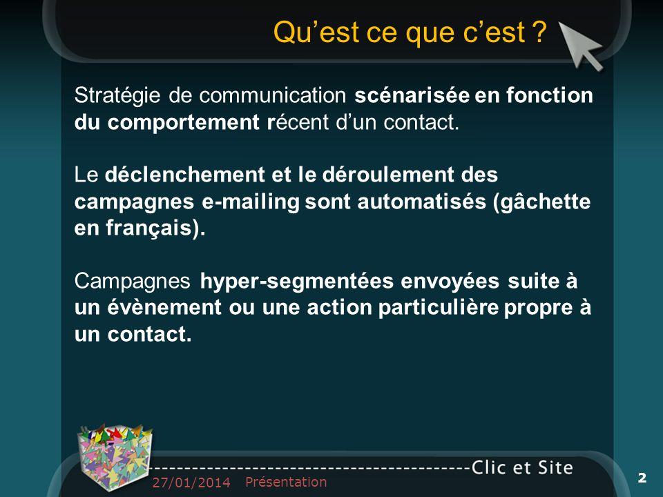 Qu'est ce que c'est Stratégie de communication scénarisée en fonction du comportement récent d'un contact.