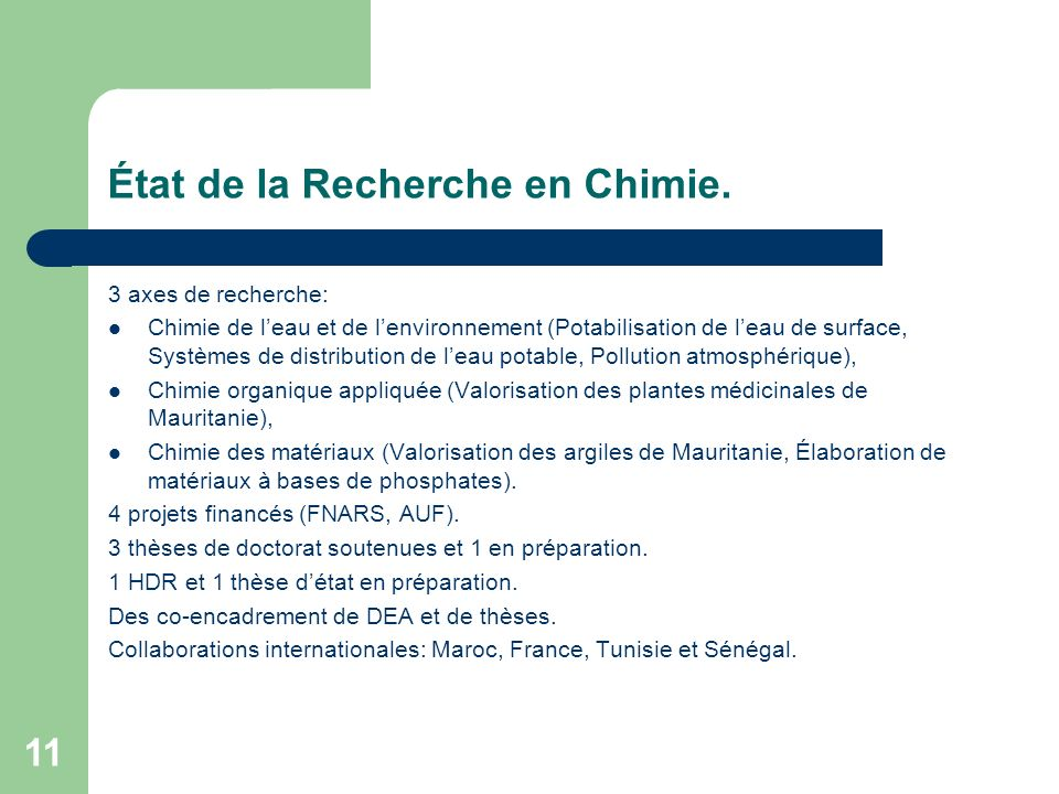 État de la Recherche en Chimie.
