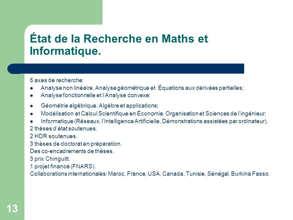 État de la Recherche en Maths et Informatique.