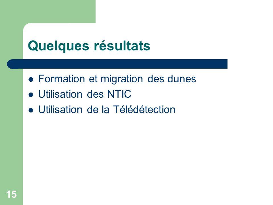 Quelques résultats Formation et migration des dunes