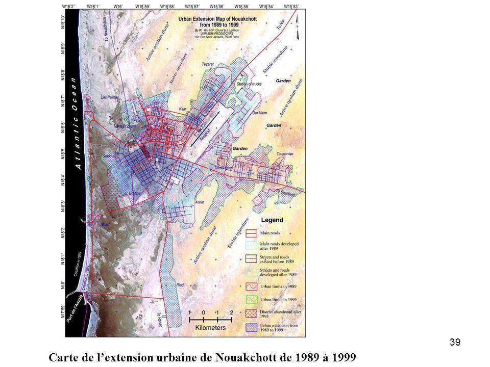 Carte de l'extension urbaine de Nouakchott de 1989 à 1999