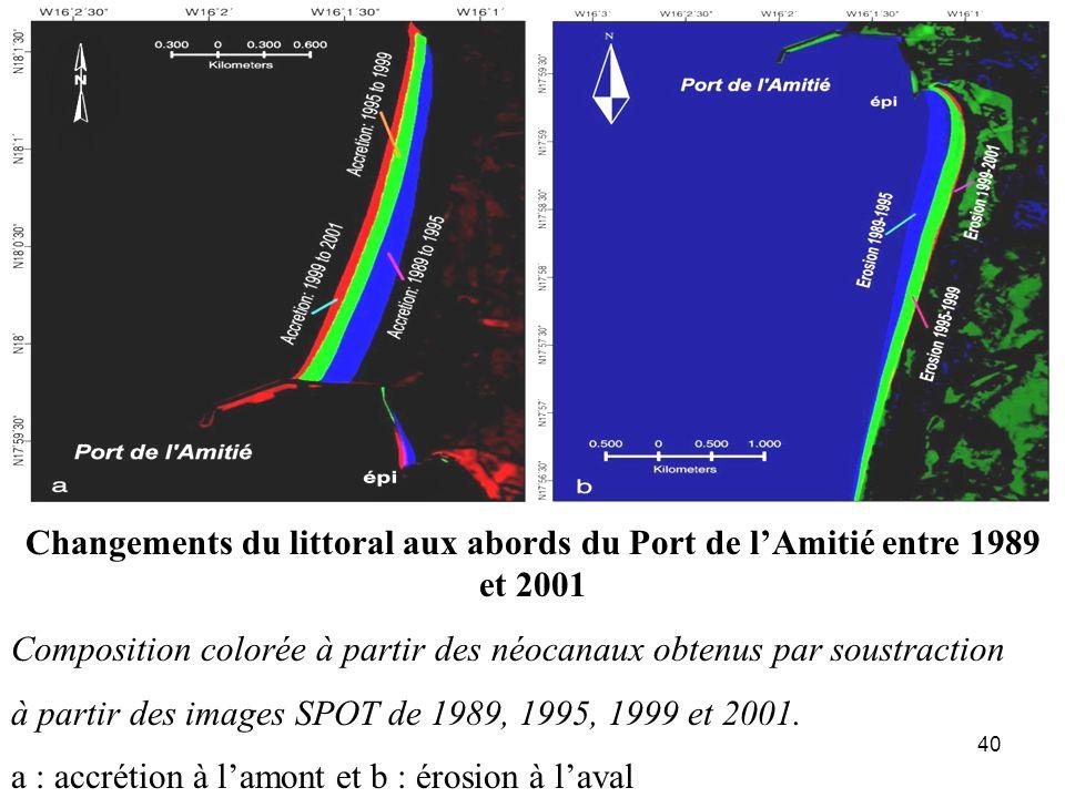 Changements du littoral aux abords du Port de l'Amitié entre 1989 et 2001