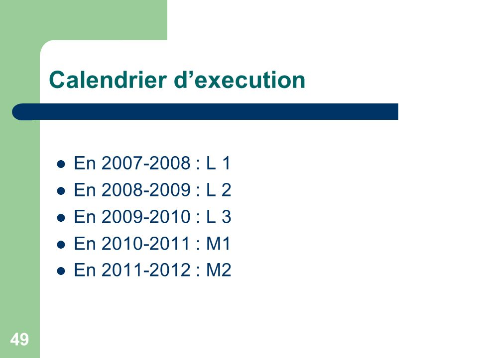 Calendrier d'execution