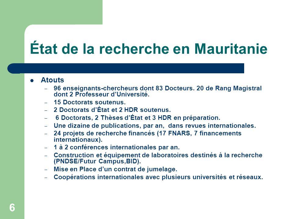 État de la recherche en Mauritanie