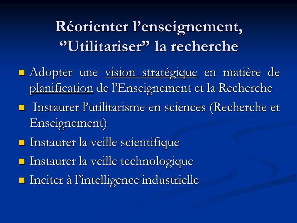 Réorienter l'enseignement, ''Utilitariser'' la recherche
