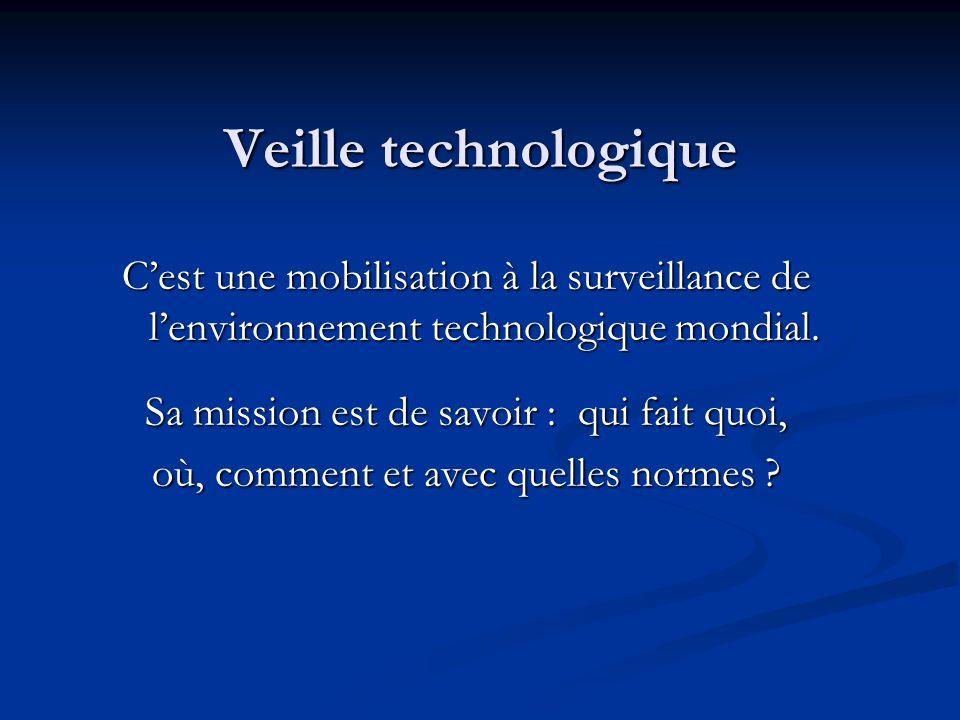 Veille technologique C'est une mobilisation à la surveillance de l'environnement technologique mondial.