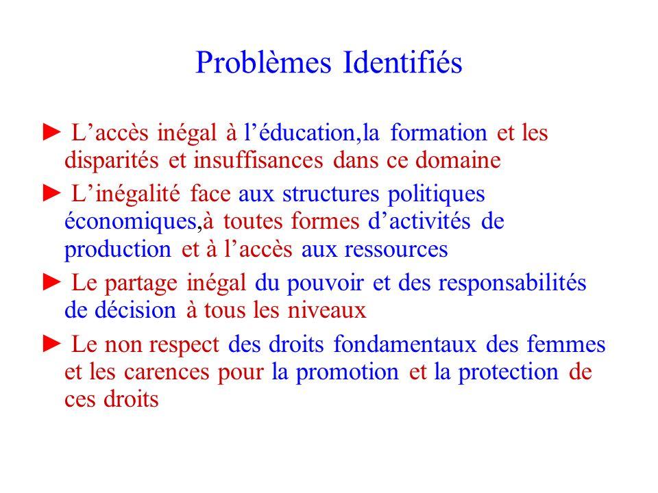 Problèmes Identifiés ► L'accès inégal à l'éducation,la formation et les disparités et insuffisances dans ce domaine.
