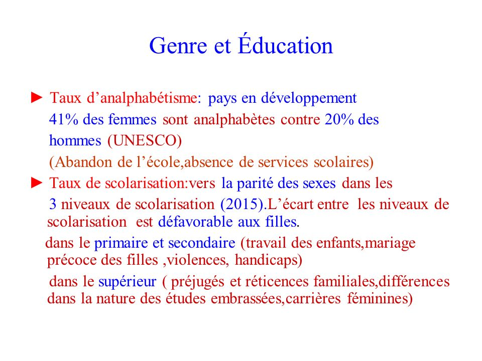Genre et Éducation ► Taux d'analphabétisme: pays en développement