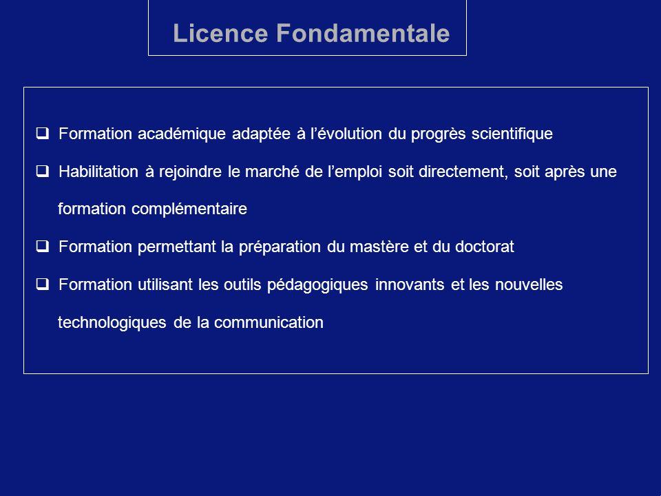 Licence Fondamentale Formation académique adaptée à l'évolution du progrès scientifique.