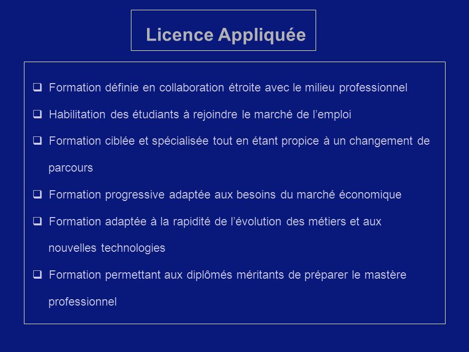 Licence Appliquée Formation définie en collaboration étroite avec le milieu professionnel.