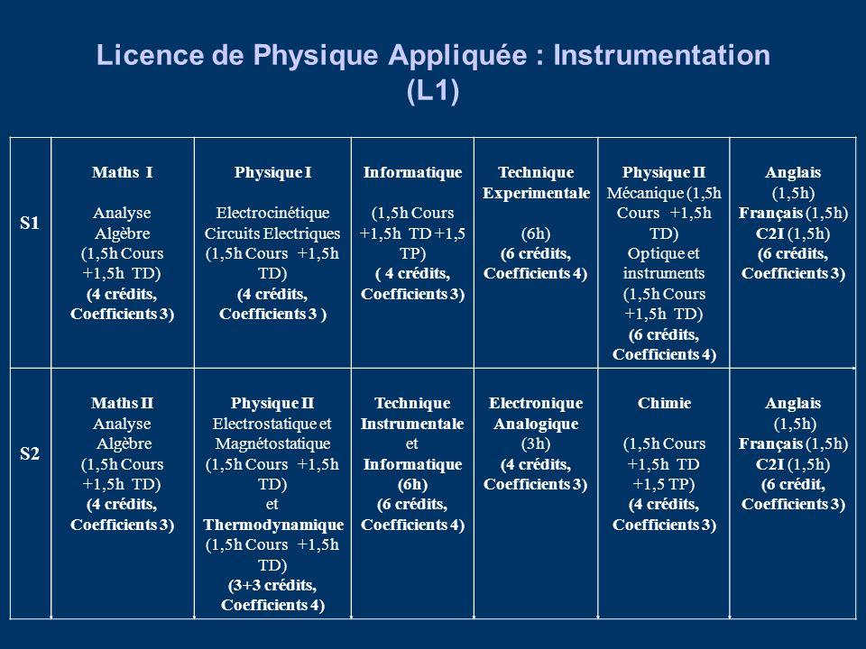 Licence de Physique Appliquée : Instrumentation (L1)