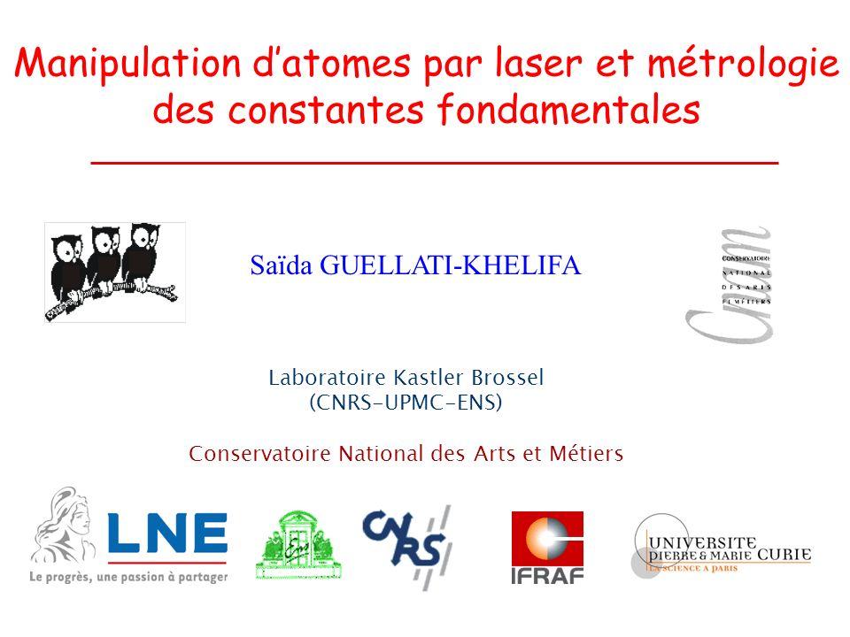 Manipulation d'atomes par laser et métrologie