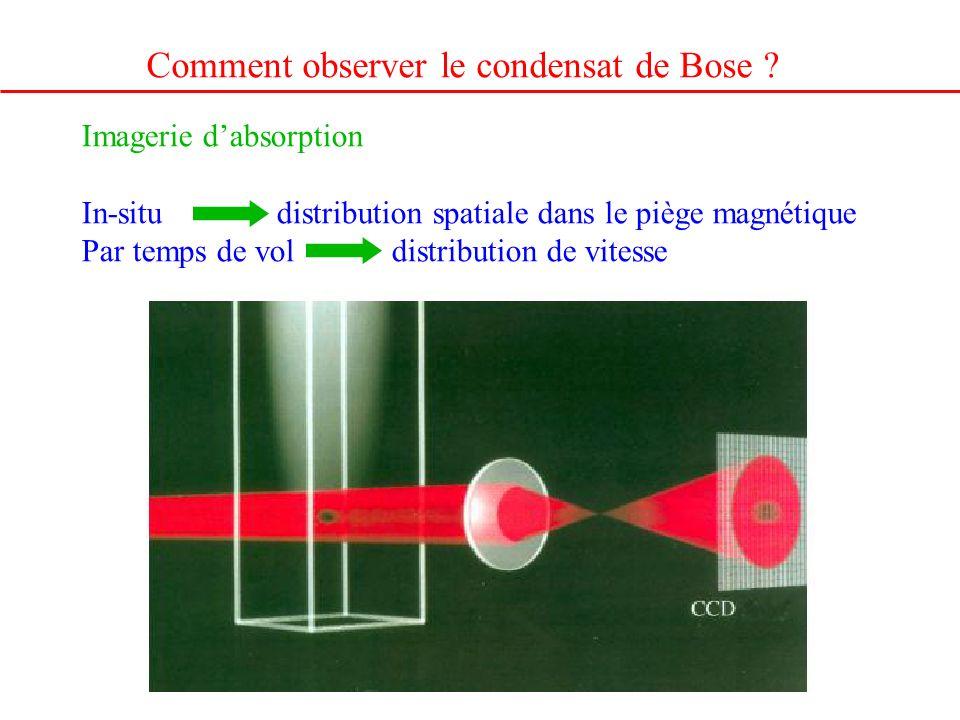 Comment observer le condensat de Bose