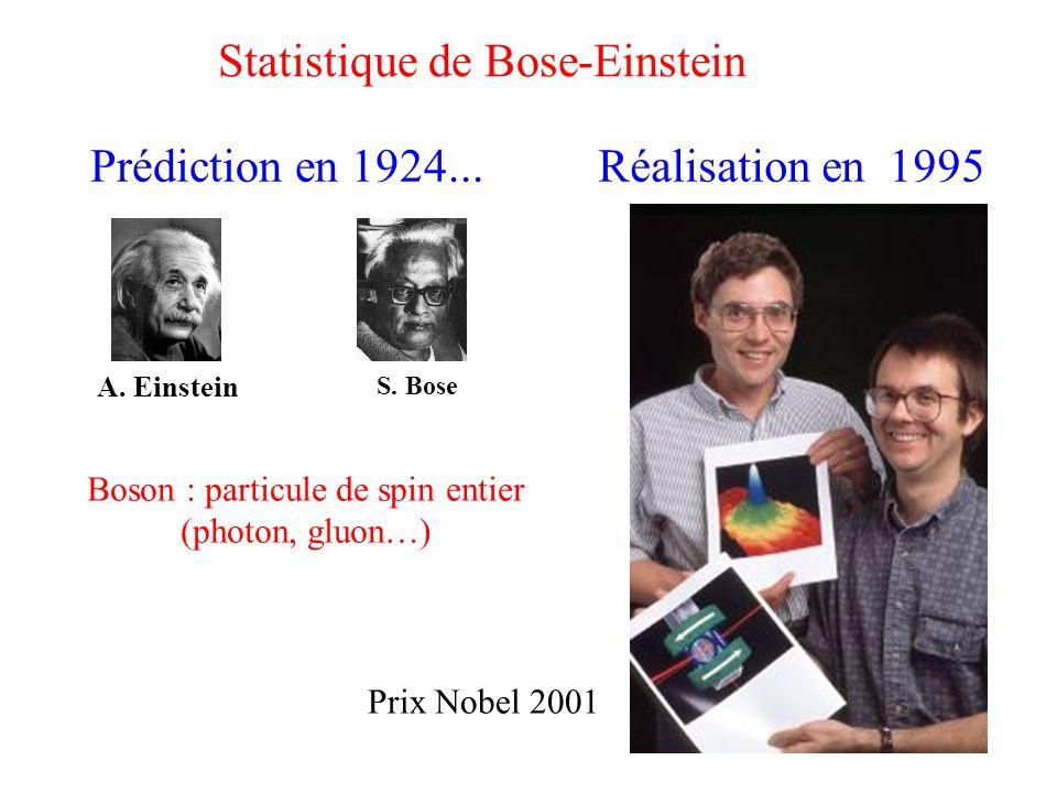 Statistique de Bose-Einstein Prédiction en 1924... Réalisation en 1995