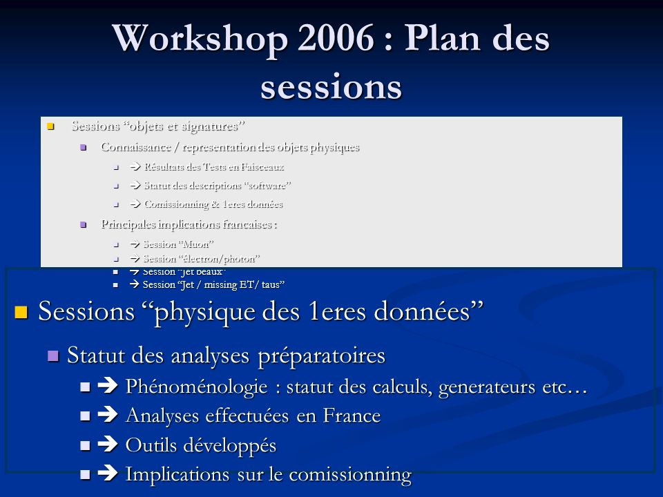 Workshop 2006 : Plan des sessions