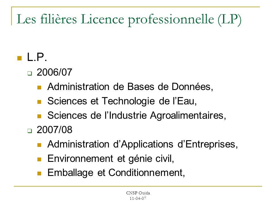 Les filières Licence professionnelle (LP)