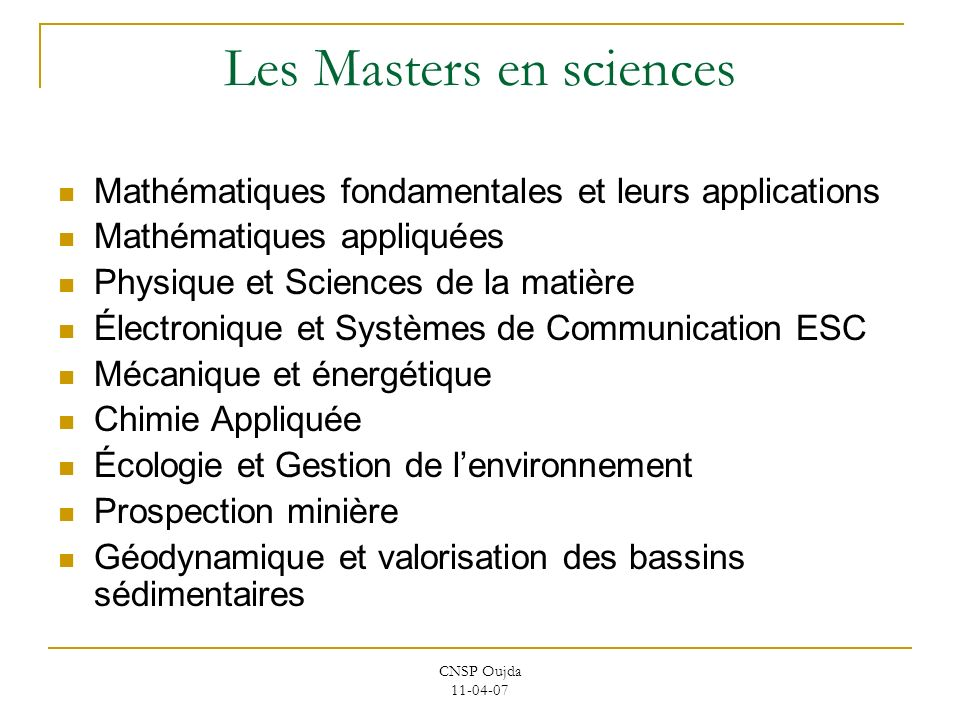 Les Masters en sciences