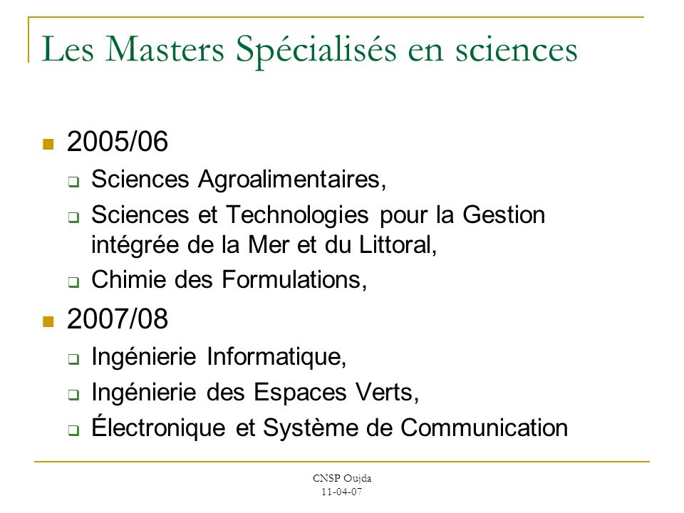 Les Masters Spécialisés en sciences