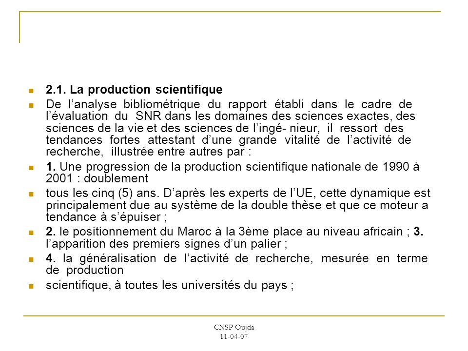 2.1. La production scientifique