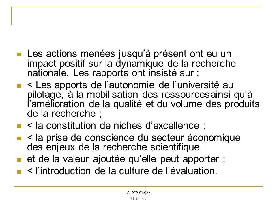< la constitution de niches d'excellence ;