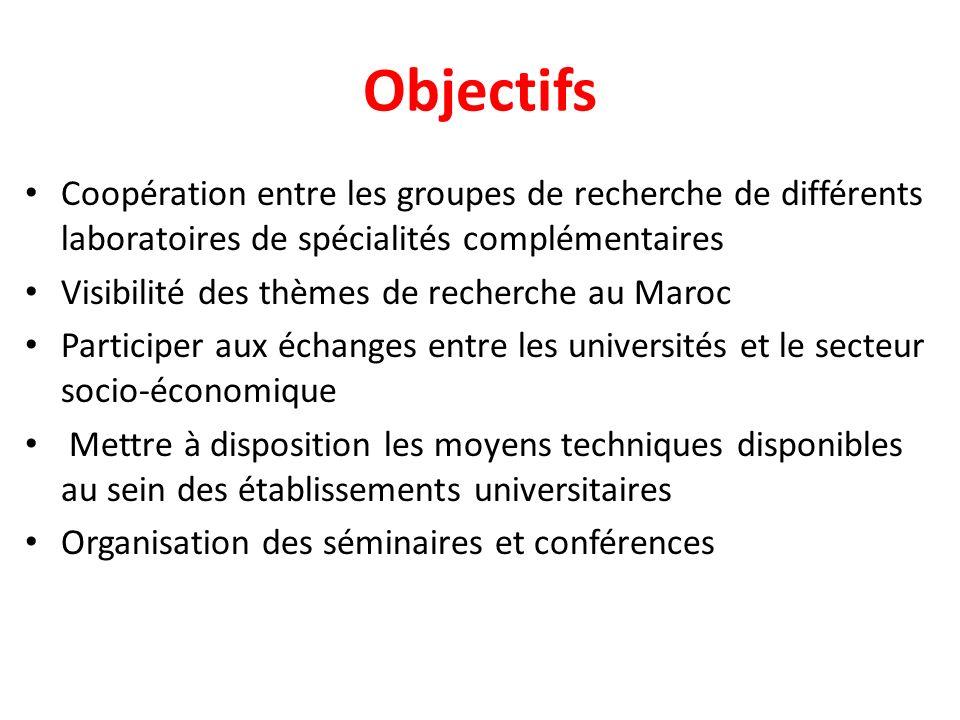Objectifs Coopération entre les groupes de recherche de différents laboratoires de spécialités complémentaires.