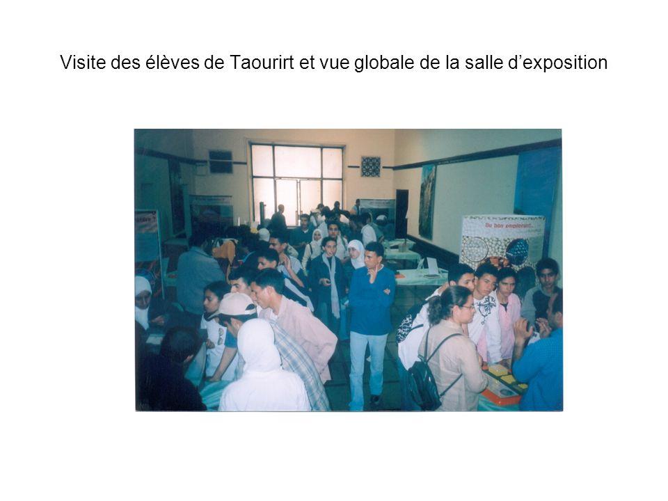 Visite des élèves de Taourirt et vue globale de la salle d'exposition