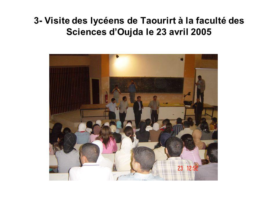 3- Visite des lycéens de Taourirt à la faculté des Sciences d'Oujda le 23 avril 2005